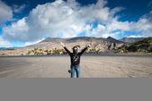 Tourists enjoying at at Mount Bromo,The active Mount Bromo — Stock Photo