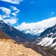 Beautiful landscape of Chopta valley with Snow covered beautiful — Foto de Stock