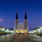 Catholic Church with a beautiful twilight time — Stock Photo