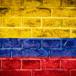 Стоковое фото: Collection of South Americflag on old brick wall texture