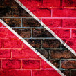 Photo: Collection of South Americflag on old brick wall texture