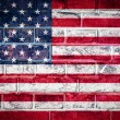 ストック写真: Collection of North Americflag on old brick wall texture