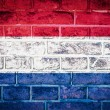 Collection of europeflag on old brick wall texture background — Stok Fotoğraf #36446421