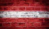 Coleção de bandeira europeia no antigo fundo de textura de parede de tijolo — Foto Stock