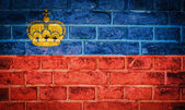 Collection of european flag on old brick wall texture background — Stock Photo