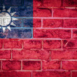 Photo: Collection of Asiflag on old brick wall texture background