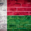 Collection of africflag on old brick wall texture background — Foto Stock #36495553
