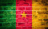Collection of africa flag on old brick wall texture background — Stock Photo