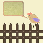 Chicken paper craft stick with bubble box background — Stock Photo