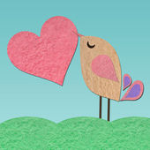 Paper bird with heart background — Stock Photo