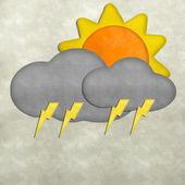 Weather plasticine craft stick on plasticine texture background — Stock Photo
