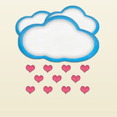 Heart falling from clouds plasticine craft stick on color backgr — Stockfoto