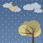 Albero di carta artigianale sotto la luna — Foto Stock