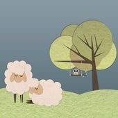 Sheep in the farm paper craft stick on color background — Stock Photo
