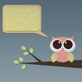 Owl bird on tree paper craft stick background — Stock Photo