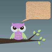 Owl bird on tree paper craft stick background — 图库照片