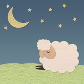 Sheep in the farm and the moon paper craft stick on color backg — Stock Photo