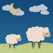 Sheep in the farm with the moon paper craft stick on color backg — Stock Photo