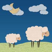 Schapen in de farm met de maan papieren ambachtelijke stok op kleur backg — Stockfoto
