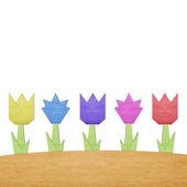 Cute paper tulip flower background with space for insert text — Stock Photo
