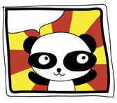 Free hand draw happy panda on colorful background — Stock Photo