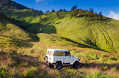Tourists Jeep for tourist rent at Mount Bromo — Stock Photo