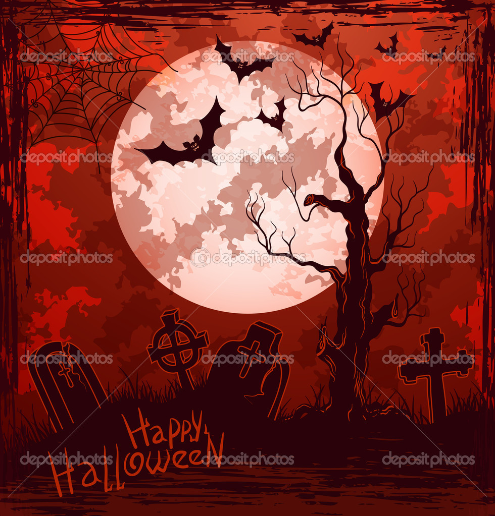 Grungy halloween background with full moon, tombstones, bats and spiders.  Stock Vector #12726629