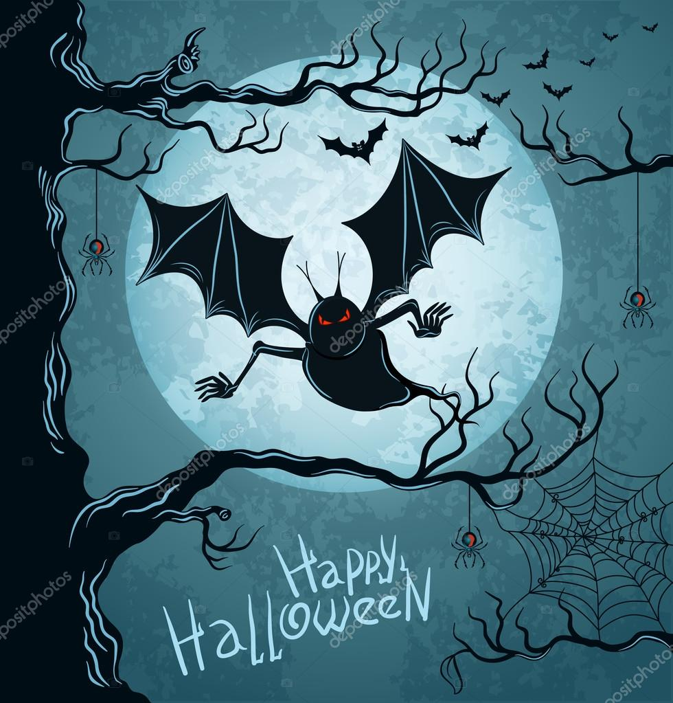 Grungy halloween background with terrible vampire, full moon, bats and spiders. — Stock Vector #12726651