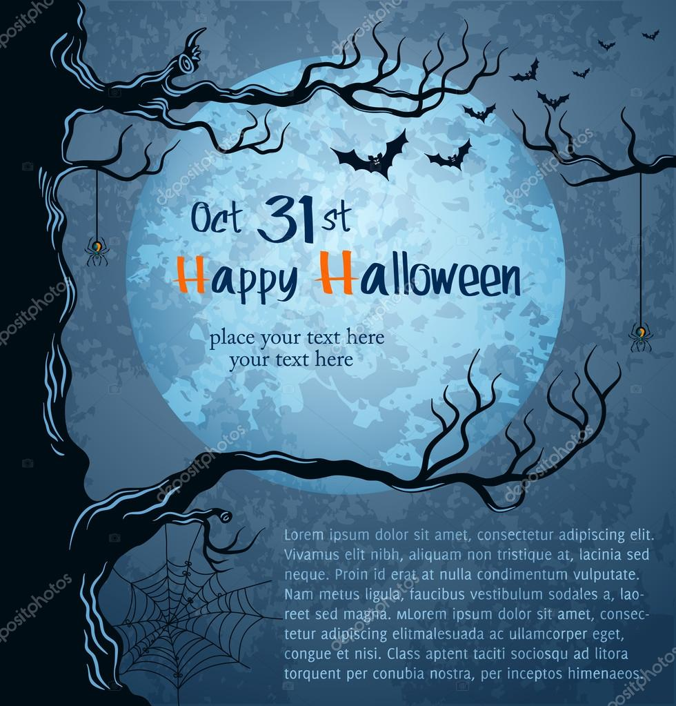 Grungy halloween background with full moon, bats and spiders.  Stock Vector #12726654