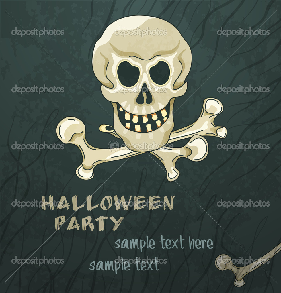 Grungy halloween background with skull and crossbones — Stock Vector #12726672