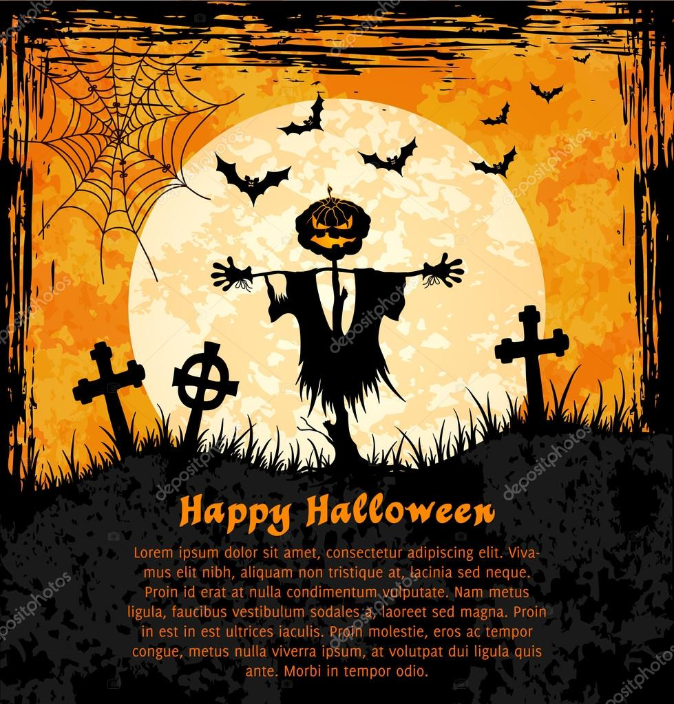 Grungy  halloween background with jack o lantern, full moon and bats. Vector Illustration. — Stock Vector #12770323