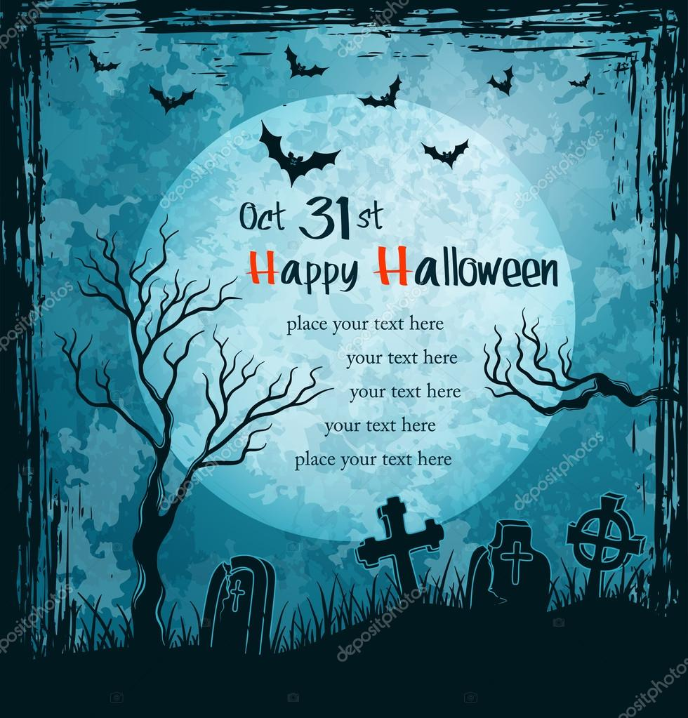 Grungy halloween background with full moon, tombstones and bats. Vector Illustration. — Imagens vectoriais em stock #12770325