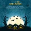 Stock Vector: Blue grungy halloween background