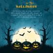 grungy halloween fond bleu — Vecteur