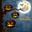Blue grungy halloween background — Imagen vectorial