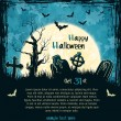 Blue grungy halloween background — Vector de stock