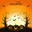 Stock Vector: Orange grungy halloween background