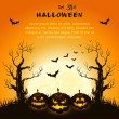Stock vektor: Orange grungy halloween background
