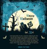 Blue grungy halloween background — Stock Vector