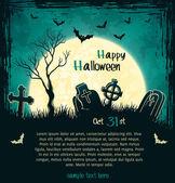 Green grungy halloween background — Stock Vector