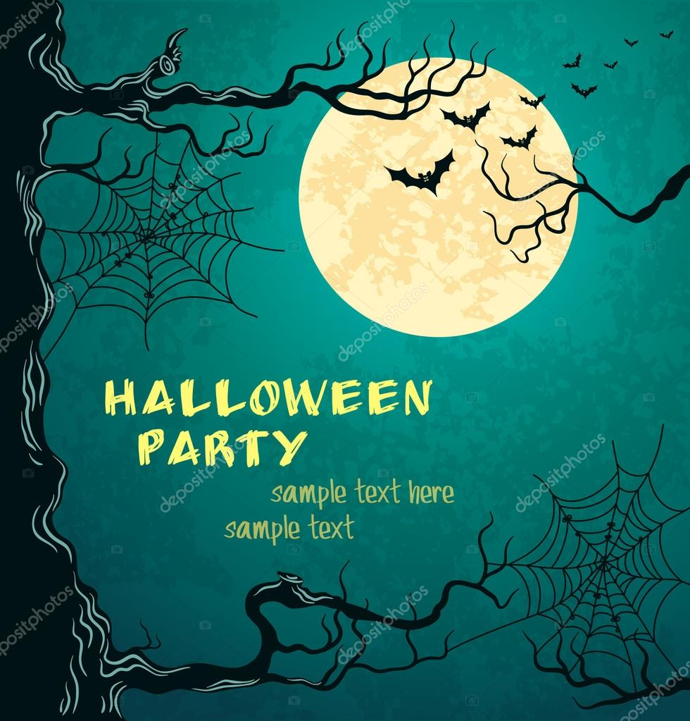 Grungy halloween background with moon, bats and spider web. Vector Illustration. — Stock Vector #13183566