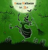 Witch dances with broom on cemetery — Stock Vector