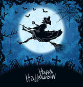 Brzydkie czarownicy latające nad cmentarzem — Wektor stockowy