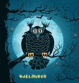 Terrible lechuza, luna llena, los murciélagos y arañas — Vector de stock
