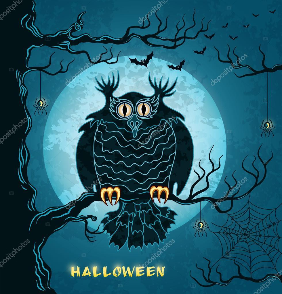 可怕的猫头鹰, 满月, 蝙蝠和蜘蛛 — 图库矢量图片 #13388674