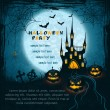 Card with spooky castle, full moon, tombstones and pumpkins — Stockvectorbeeld