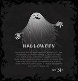 Kaart met spooky ghost — Stockvector