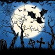 Spooky vampire on cemetery - Stockvectorbeeld