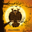 Terrible owl, full moon, bats and spiders - Stockvectorbeeld