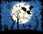 Spooky vampire on cemetery — Stock Vector